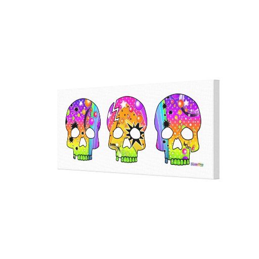 Skull Pop Art (long) Gallery  Wrapped Canvas Canvas Print