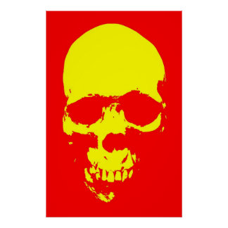 Skull Pop Art Poster - Red & Yellow
