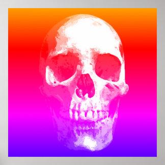 Skull Pop Art Red Blue Pink Poster