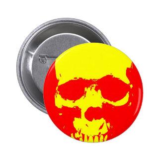 Skull Pop Art - Red & Yellow Pinback Button