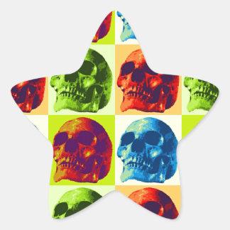 Skull Pop Art Star Sticker
