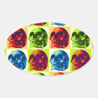Skull Pop Art Oval Sticker