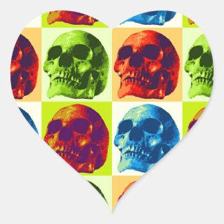 Skull Pop Art Heart Sticker