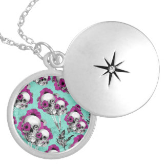 Skull poppies patterned illustration. silver plated necklace