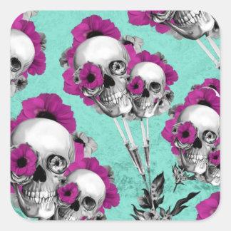 Skull poppies patterned illustration. square sticker