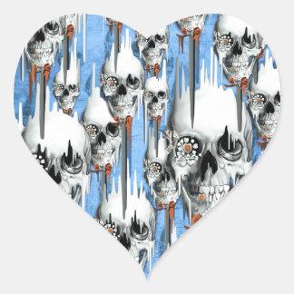 Skull popsicle pattern heart sticker