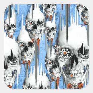 Skull popsicle pattern square sticker