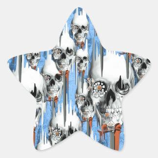 Skull popsicle pattern star sticker