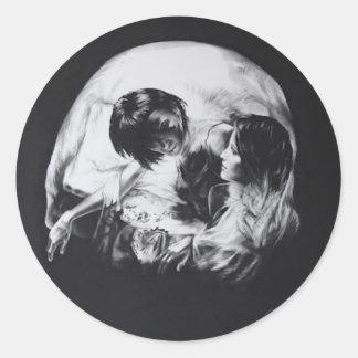 skull-Portraits-tom Classic Round Sticker