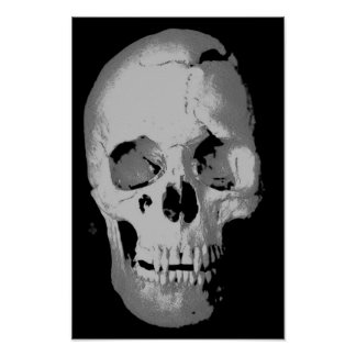 Skull Poster - Black & White Pop Art, Fantasy Art
