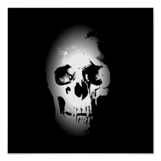 Skull Poster - Black & White Pop Art, Fantasy Art