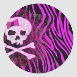 skull print classic round sticker