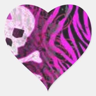 skull print heart sticker