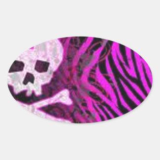 skull print oval sticker