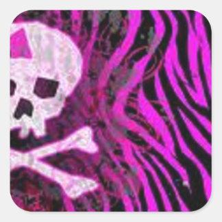 skull print square sticker