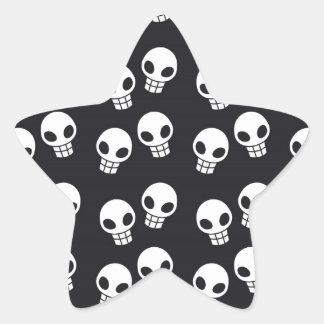 Skull Print Star Sticker