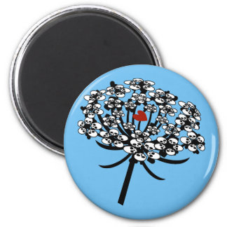 Skull Queen Anne's Lace 2 Inch Round Magnet