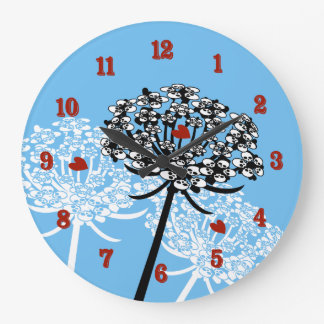 Skull Queen Anne's Lace Large Clock