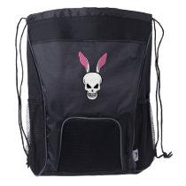 Skull Rabbit Happy Easter Easter Day Drawstring Backpack