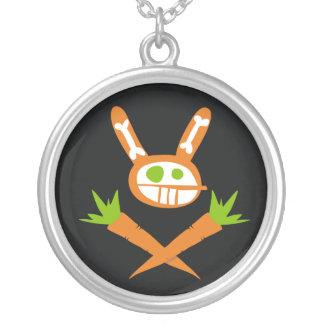 skull rabbit round pendant necklace
