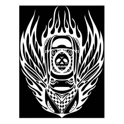 Skull Racing Car Postcard