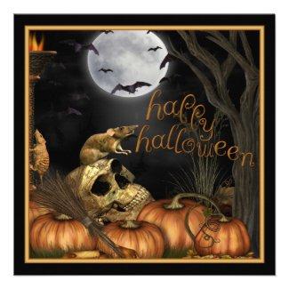 Skull, Rats and Pumpkin Halloween Party Invitation
