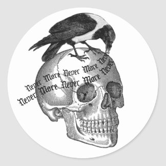 Skull & Raven Round Sticker
