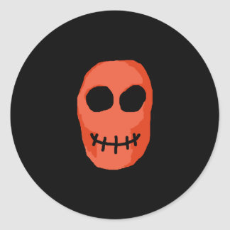 Skull Red and black. Primitive Style. Classic Round Sticker
