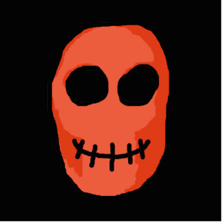 Skull Red and black. Primitive Style. Cutout