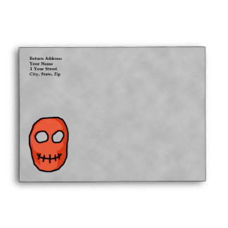 Skull Red and black. Primitive Style. Envelope