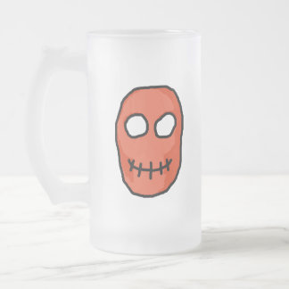 Skull Red and black. Primitive Style. Frosted Glass Beer Mug