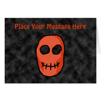 Skull Red and black. Primitive Style. Greeting Card