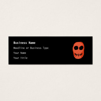 Skull Red and black. Primitive Style. Mini Business Card