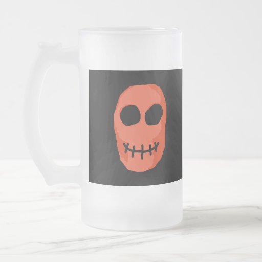 Skull Red and black. Primitive Style. 16 Oz Frosted Glass Beer Mug