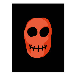 Skull Red and black. Primitive Style. Postcard