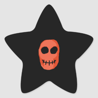 Skull Red and black. Primitive Style. Star Sticker