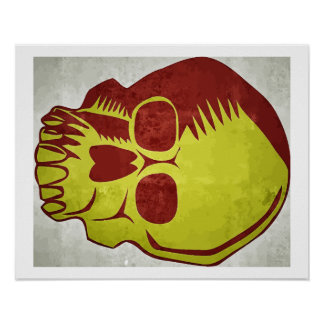 Skull red and yellow poster