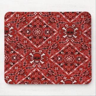 Skull Red Bandana Print Mouse Pad