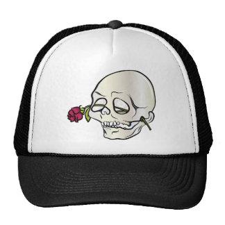 Skull ~ Red Rose 2 Tattoo Skull Fantasy Art Trucker Hat