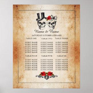 Skull Red Rose Table Plan Wedding Poster Seating