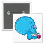 Skull ~ Red Rose Tattoo Skull Fantasy Art Pinback Buttons
