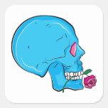 Skull ~ Red Rose Tattoo Skull Fantasy Art Square Stickers