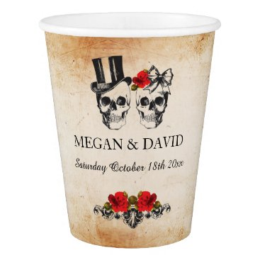 Halloween Themed Skull Red Roses Paper Cups Halloween Wedding