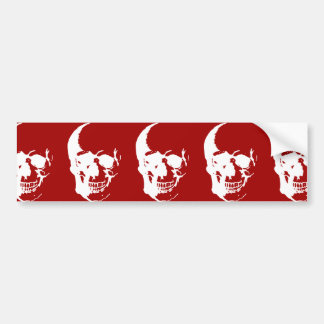 Skull - Red & White Metal Fantasy Art Bumper Sticker
