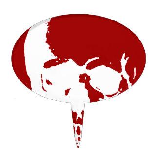 Skull - Red & White Metal Fantasy Art Cake Topper