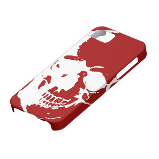 Skull - Red & White Metal Fantasy Art iPhone SE/5/5s Case