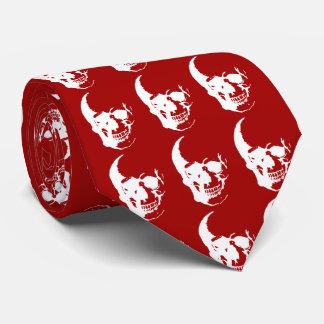 Skull - Red & White Metal Fantasy Art Neck Tie