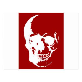 Skull - Red & White Metal Fantasy Art Postcard