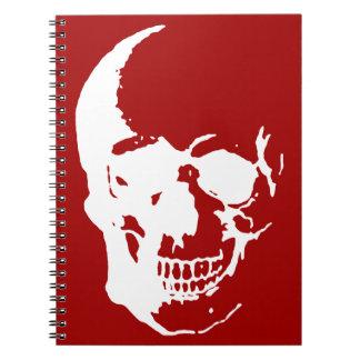 Skull - Red & White Metal Fantasy Art Spiral Notebook