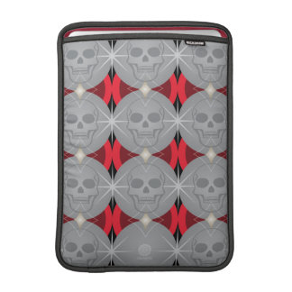 Skull retro circle pattern red and grey sleeve for MacBook air